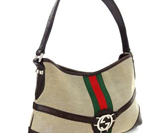5f5d493ef10ef1 Vintage Authentic Gucci Web Canvas Leather Tote Shoulder Bag Italy