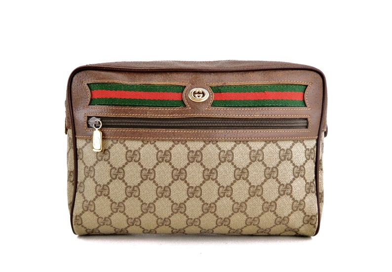 bec725c8d8577 Authentic Vintage Gucci Supreme Web GG Monogram Canvas Leather Travel  Makeup Toiletry Bag