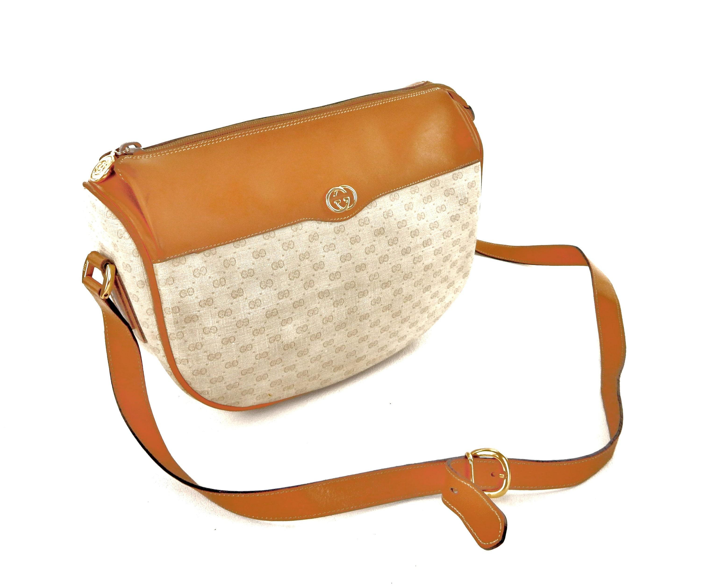 86475a1459f4 Vintage Gucci Brown Supreme Micro GG Monogram Canvas Leather | Etsy