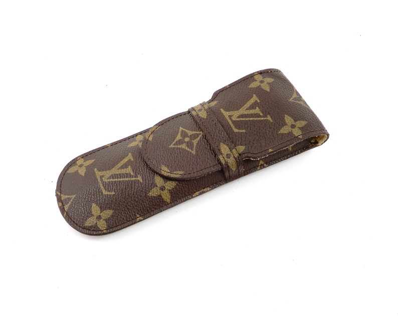 809fa59ea50 Vintage Louis Vuitton Brown Monogram Canvas Leather Etui