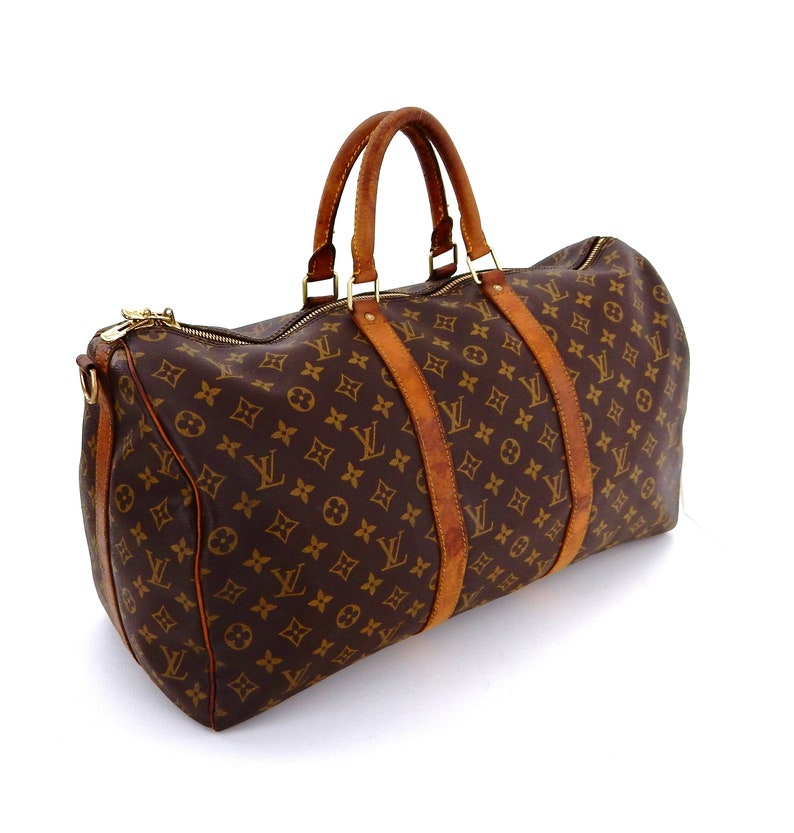 Vintage Louis Vuitton Brown Monogram Canvas Leather Keepall 50  8894a681b8828
