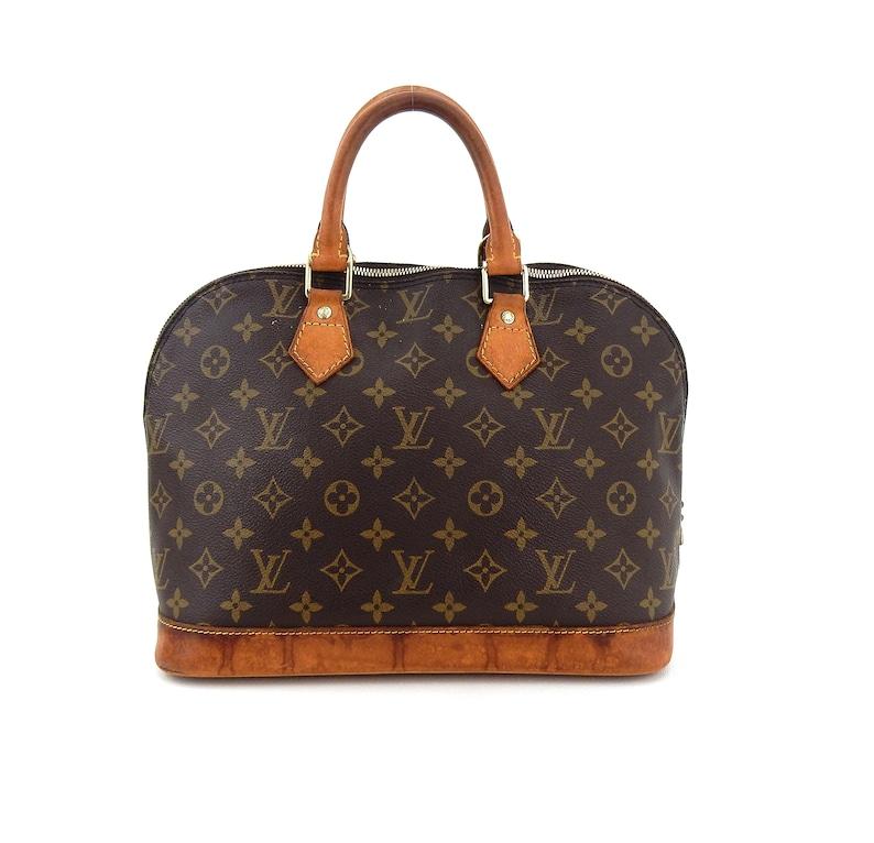 cc0856159a3 Authentic Vintage Louis Vuitton Alma Pm Brown Monogram Canvas Leather Tote  Bag