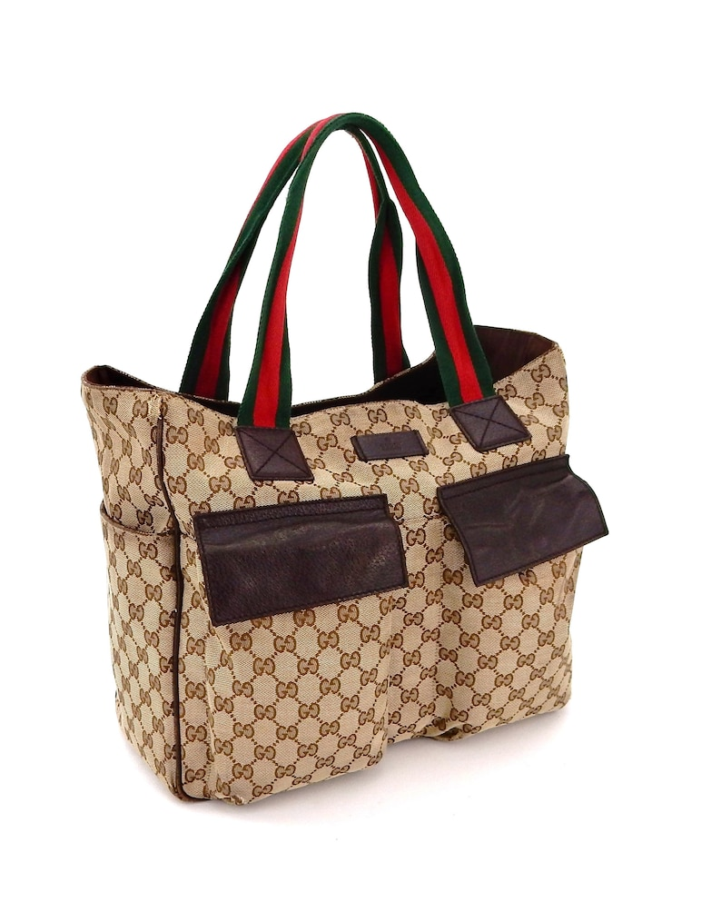 72bfbf01453 Rare Authentic Vintage Gucci Web GG Monogram Canvas Leather