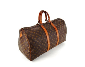 Authentic Vintage Louis Vuitton Brown Monogram Canvas Leather Keepall 50 Weekend  Travel Duffle Bag