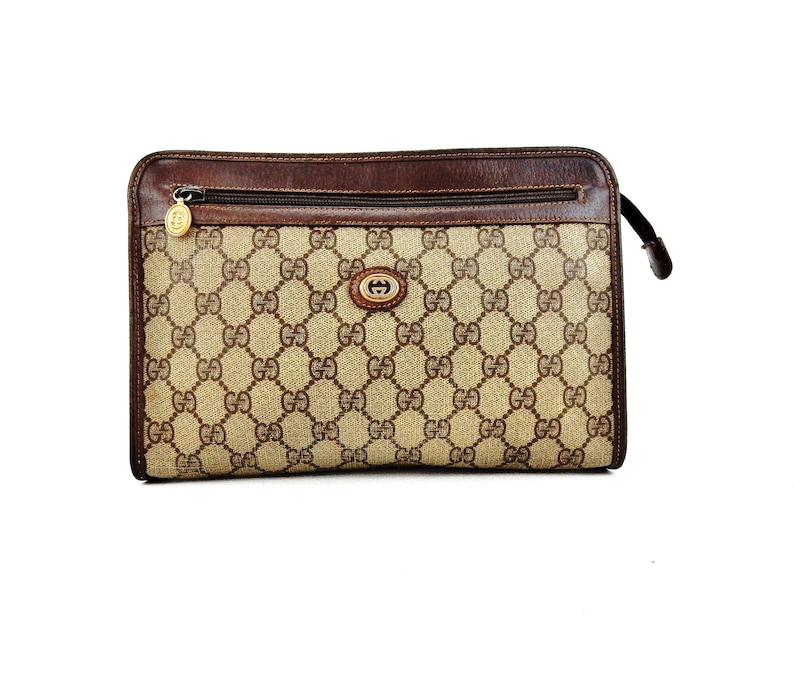 63ee25cad4e Authentic Vintage Gucci Brown GG Logo Canvas Leather Travel