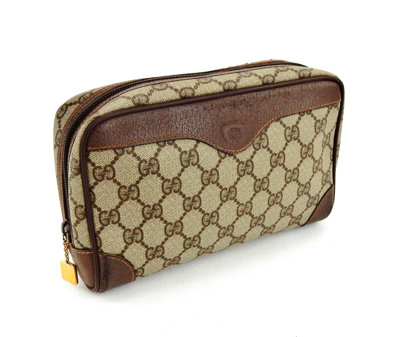 b15cd87abfdb Authentic Vintage Gucci Supreme GG Monogram Canvas Leather | Etsy