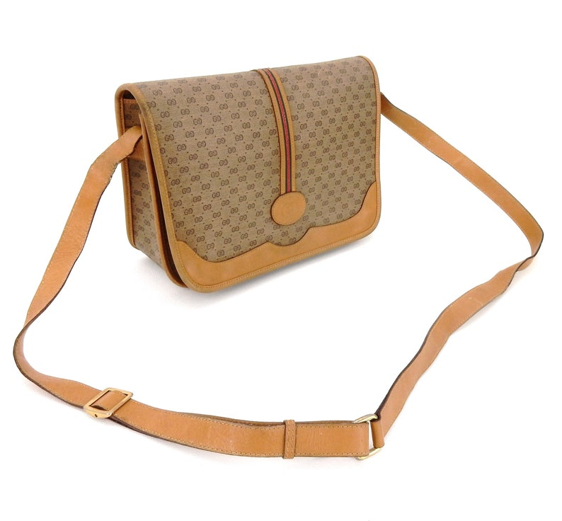 48f36ba310bf2 Vintage Gucci Web Supreme Micro GG Monogram Canvas Leather Shoulder  Crossbody Bag Italy