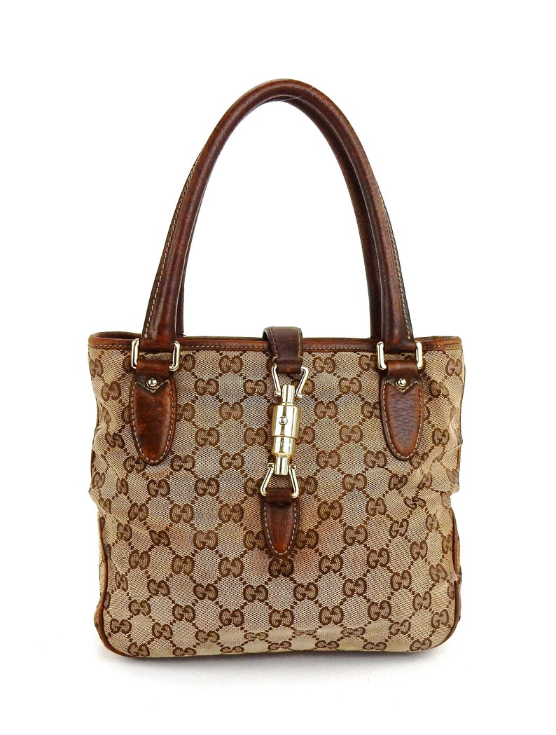 36011956955c Authentic Vintage Gucci Brown Gg Monogram Canvas Leather Tote