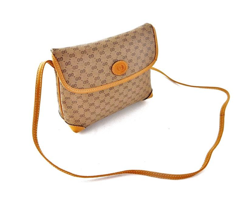 f3e3299ea988 Gucci Vintage Brown Micro GG Monogram Canvas Leather Shoulder | Etsy