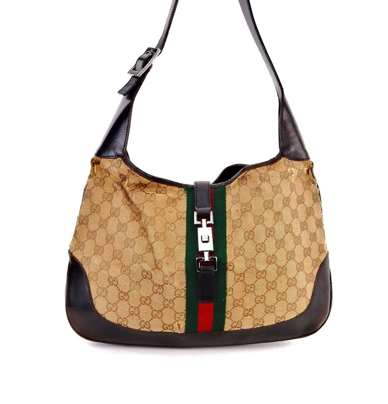 41b8ccad4da Authentic Vintage Gucci Jackie Hobo Web GG Monogram Canvas