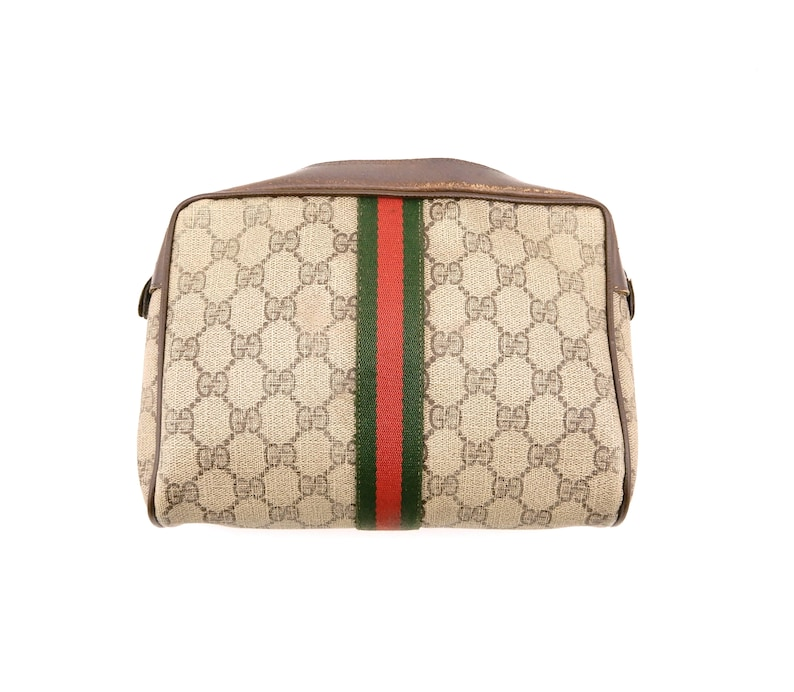 266e8a5a4f1 Authentic Vintage Gucci Supreme Web GG Monogram Canvas Leather Travel  Makeup Toiletry Bag