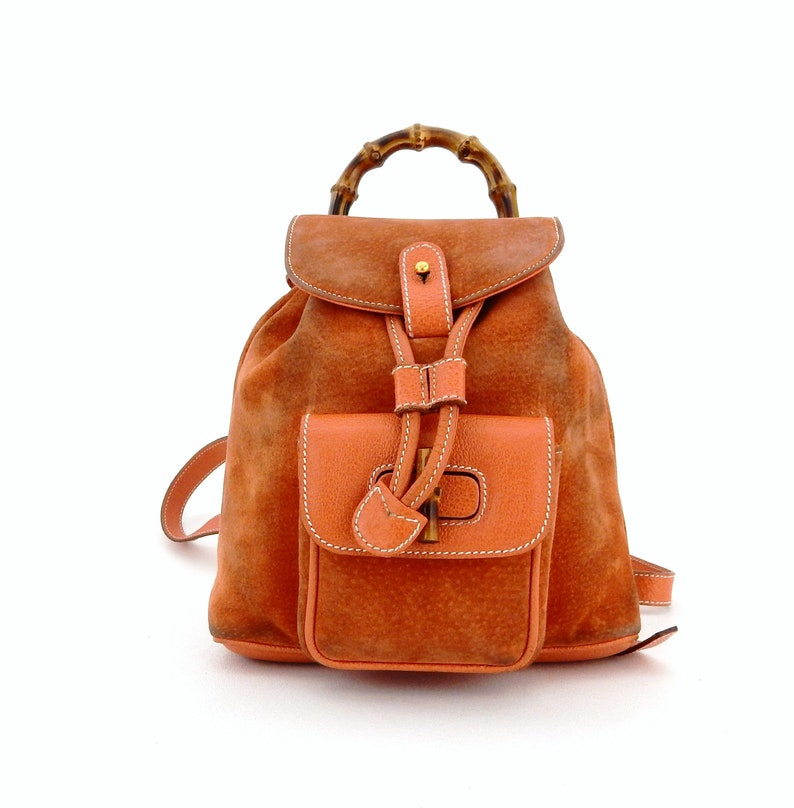 b5d38a7bcde Authentic Vintage Gucci Suede Leather Bamboo Backpack Sling