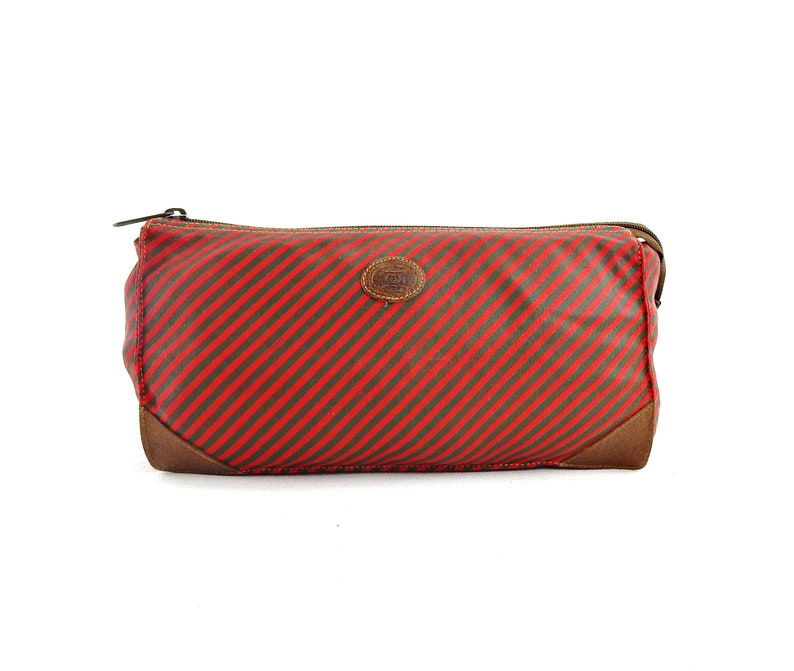 331f3d2708c Vintage Gucci Toiletry 26 Red Green Striped Coated Canvas