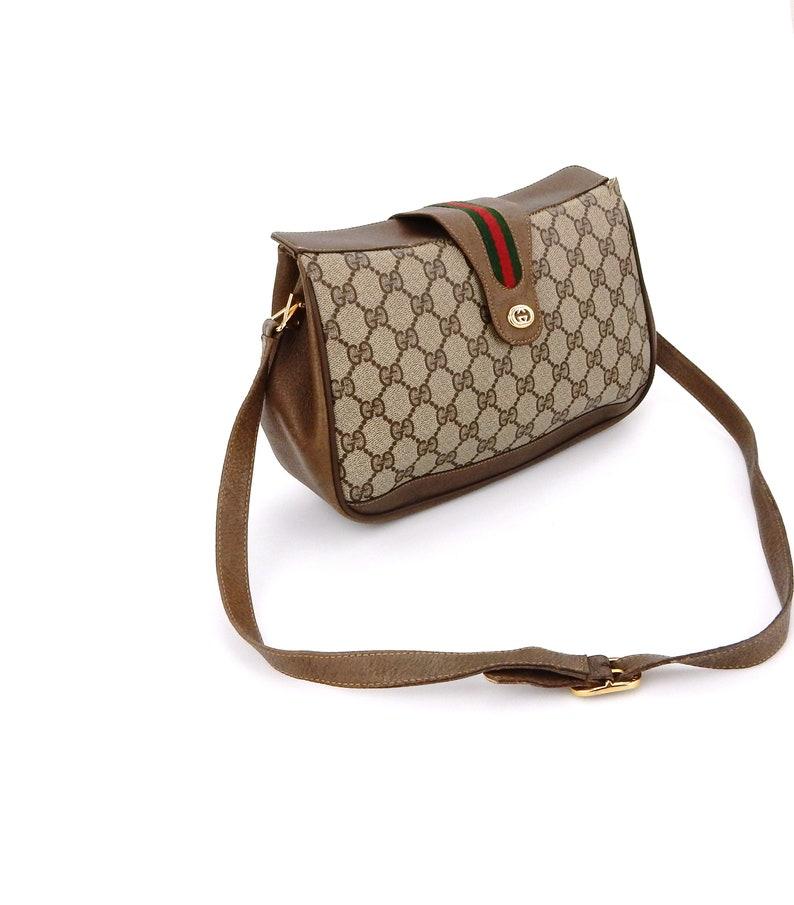 f3ef8424cd80 Vintage Gucci Supreme Web GG Monogram Canvas Leather Shoulder | Etsy