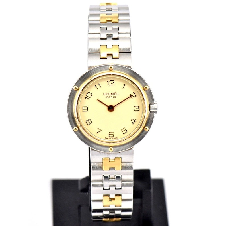 01ce30979d8 Ladies Vintage Hermès Silver Gold Olympe Stainless Steel