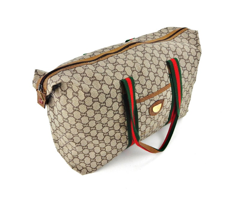 2bef4445ea7a Gucci Web GG Plus Monogram Canvas Leather Weekend Travel   Etsy