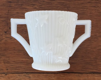 Imperial Milk Glass Open Sugar Bowl with Leaf / Vine Pattern