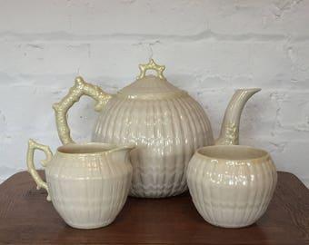 Belleek Limpet Yellow Teapot, Creamer and Open Sugar Bowl