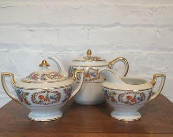 """Meito China """"Chandresden"""" Teapot, Creamer and Sugar Bowl"""