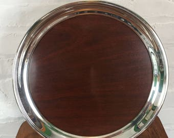 FB Rogers Mid-Century Modern Laminate and Silverplate Drinks Tray - Large