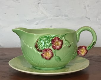 Carleton Ware Green Leaf and Flower Creamer with Saucer