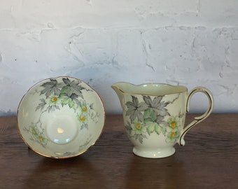 Paragon Creamer & Open Sugar Bowl with Green Flowers and Gray Maple Leaves