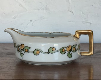 H & Co Selb Bavaria Hand Painted Green and Orange Scroll Creamer