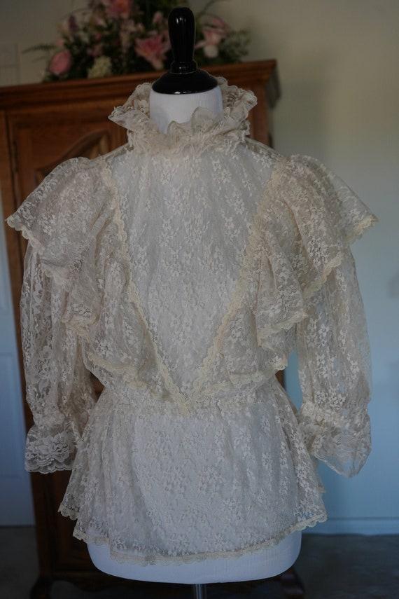 Vintage 1980s Victorian Lace Blouse