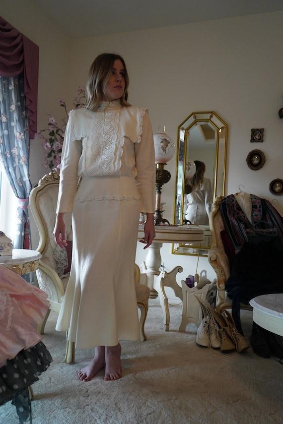 Jessica McClintock 1980s Victorian Dress