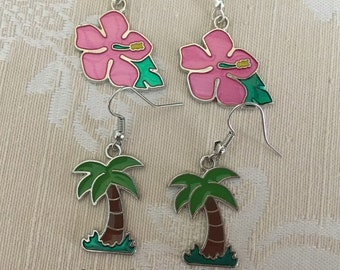 Palm tree earrings, Summer earrings, Tropical earrings, Beach earrings, Flower earrings, Fun earrings, Sale earrings  Women's gifts BFF gift