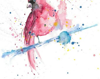Watercolour print of Red Cardinal bird on branch