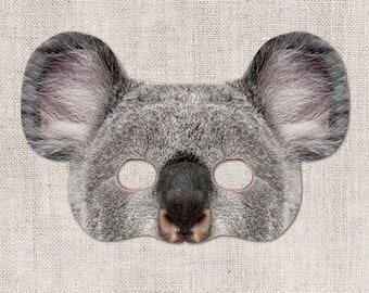 Koala Printable Mask, Koala, Photo-Real Koala Mask, Halloween Mask, Printable Mask, Koala Costume, 2 Sizes, Australia, Party, Zoom Prop