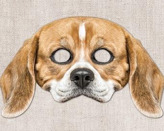 Beagle Printable Mask, Dog, Beagle, Photo-Real Dog Mask, Halloween Mask, Printable Mask, Little Dog Costume, 2 Sizes, Zoom Prop, Zoom Mask