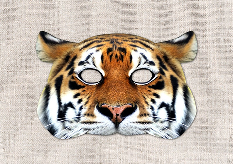 photograph about Tiger Mask Printable named Tiger Printable Mask, Large Cat, Photograph-True Tiger Mask, Printable Halloween Mask, Printable Mask, Tiger Dress, Animal Mask, 2 Measurements