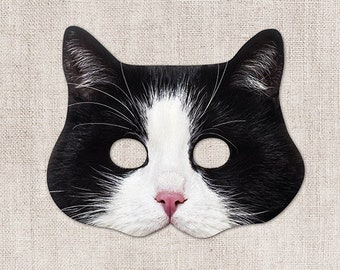 Tuxedo Cat Printable Mask, Black White Cat Mask, Printable Halloween Mask, Printable Mask, Cat Costume, Animal Mask, 2 Sizes, Zoom Costume