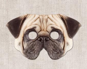 Pug Printable Mask, Dog, Pug, Photo-Real Dog Mask, Halloween Mask, Printable Mask, Zoom Costume, Pug Costume, 2 Sizes, Little Dog, Pug Party