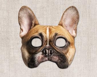 French Bulldog Printable Mask, Dog, Photo-Real Dog Mask, Halloween Mask, Printable Mask, Zoom Costume, Bulldog Costume, 2 Sizes, Little Dog