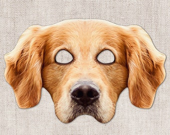 Golden Retriever Printable Mask, Dog, Golden, Photo-Real Dog Mask, Halloween Mask, Printable Mask, Golden Dog Costume, 2 Sizes, Zoom Costume