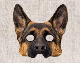 German Shepherd Printable Mask, Dog, Photo-Real Dog Mask, Halloween Mask, Printable Mask, German Shepherd Dog Costume, 2 Sizes