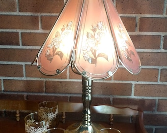 Vintage Brass Table Lamp with Pink Glass Shade, White Floral Lamp, Vintage Lamp, Mid Century Victorian Retro Decor