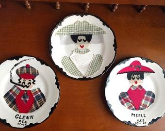 3 Vintage Handmade Plates, Fabric Art, Fabric Portraits, Decorative Plates, Plaid, Mid Century Decor