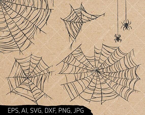 Hand Drawn Spider Web Svg Bundle Cobweb Svg Halloween Svg Etsy