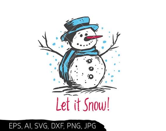 Snowman Face Svg Let It Snow Snowman Svg Files For Cricut Etsy