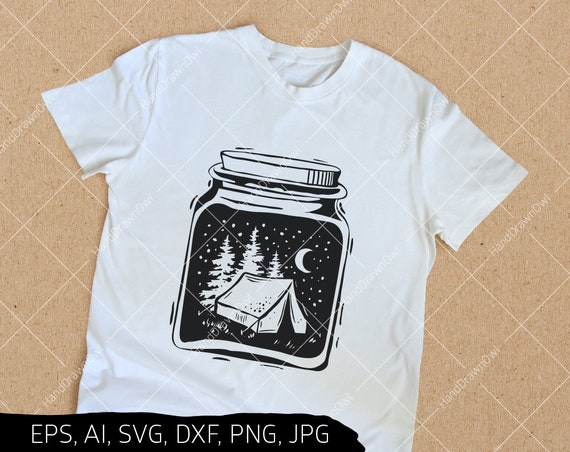 Camping Svg Files Hand Drawn Mason Jar Svg Files For Cricut Etsy