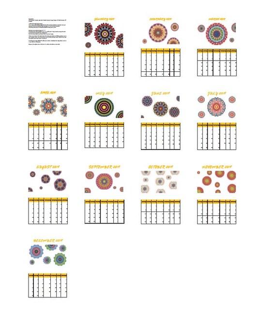 2019 Calendar Printable A4 Size Printable Calendar Rangoli Etsy
