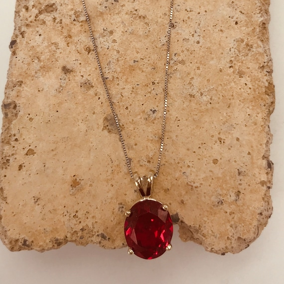 July Birthstone Lab-Created Red Ruby Gemstone Necklace Pendant 10k White Gold