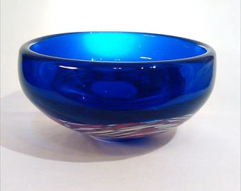 Cobalt blue + multicolored bowl by Svoboda Škrdlovice