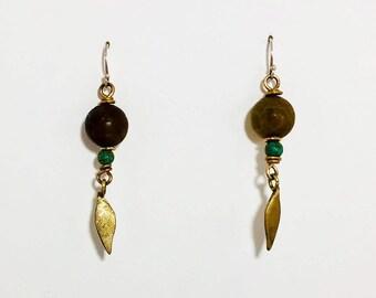Brown Jade & Turquoise Bead Earrings with Single Lotus Petal
