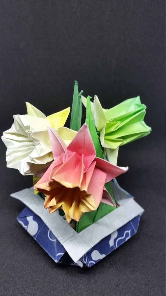 Origami daffodils in handfolded origami bonsai vase papercraft etsy image 0 mightylinksfo