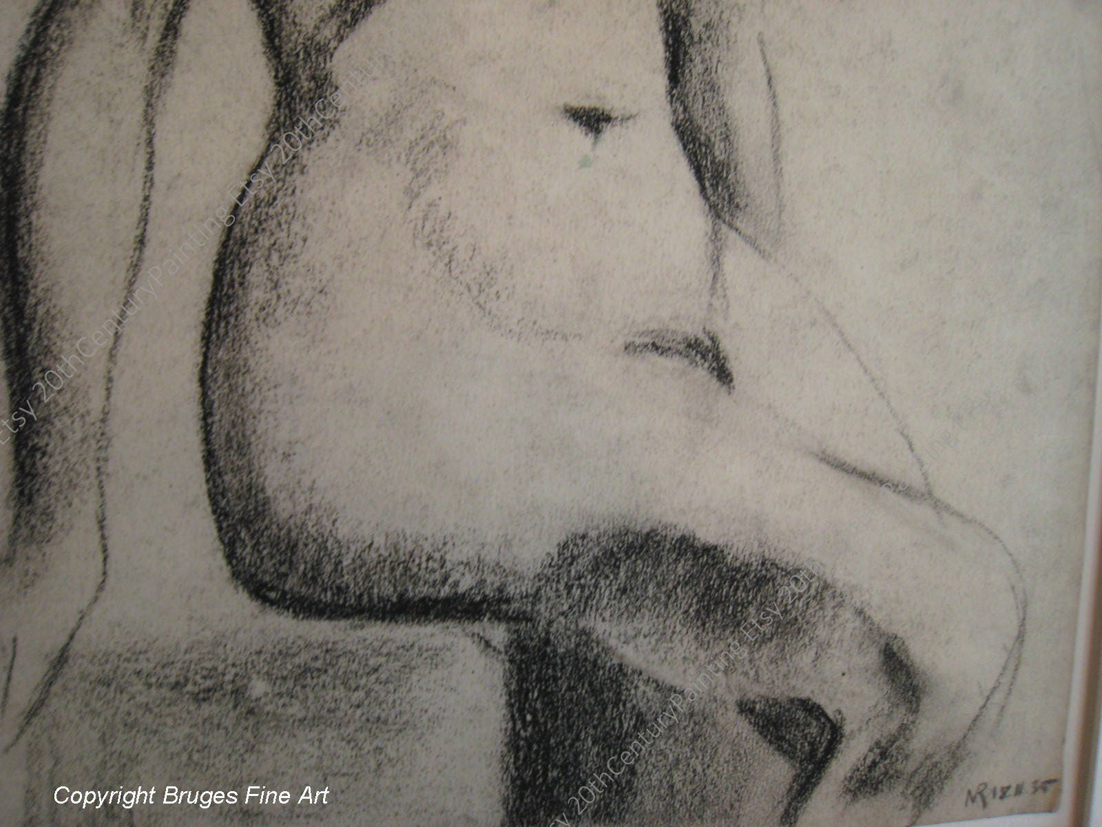 20th Century Charcoal Drawing Art Drawings Female Nude